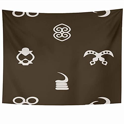 Tapices para colgar en la pared Patrón Adinkra Símbolos Old Unity Your Design West Tattoo Graphic Signos primitivos Ghana Texturas Tapiz Manta de pared Decoración del hogar Sala de estar Dormitorio Do