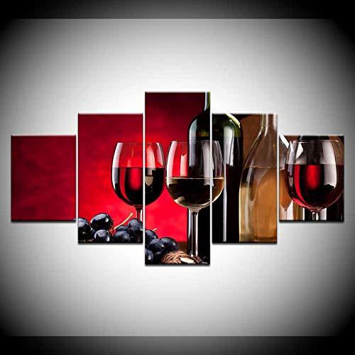 DGGDVP canvas schilderij druif gratis verzending 5 stuks muurkunst schilderij modulaire behang poster afdrukken voor woonkamer wooncultuur 30x40cmx2,30x60cmx2,30x80cmx1 Met frame.