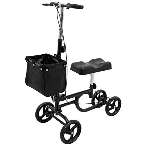 ECD Germany Lenkbarer Knie Scooter mit Bremsen und Korb - höhenverstellbar - faltbar - Krückenalternative - Knie Walker Knie-Rollator Knie-Roller Knie Gehhilfe Medical Roller Rollator