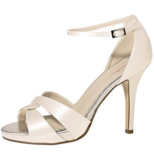 Rainbow Club Brautschuhe Cate - Damen High Heels gepolstert, Ivory/Creme, Satin - Gr. 36.5 (UK 3.5)