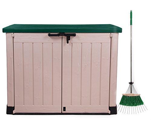 ONDIS24Keter Garden Wheelie Bin Storage Box Device Box Max With Leaf & Beige Grün/1200L/for 2x 240L Bin/Lockable Lid with Gas, Plastic