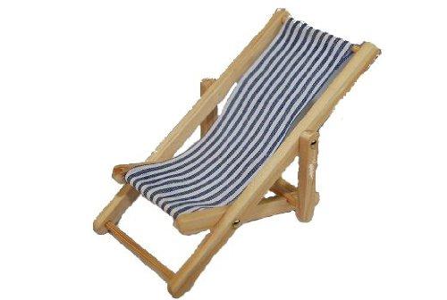alles-meine.de GmbH Liegestuhl - Miniatur für Puppenstube / Puppenhaus Maßstab 1:12 - Strandmöbel - Gartenmöbel - Gartenstuhl - Strand Urlaub