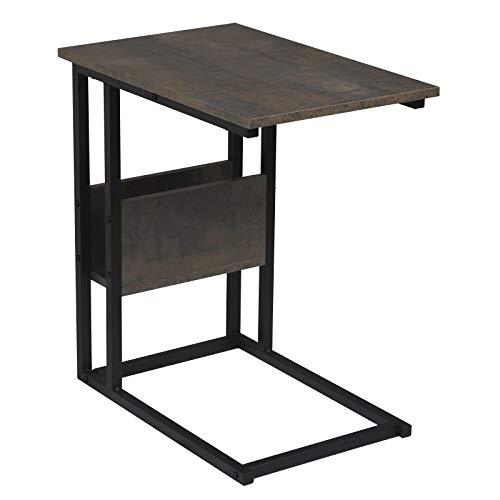 WOLTU Tavolino Laterale da Divano Piccolo Tavolo da caffè per Salotto in MDF e Ferro Colore Nero+Ruggine TS79srs