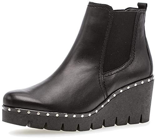 Gabor Damen Keilstiefeletten 93.785,Frauen Stiefel,Boots,Halbstiefel,Wedge-Bootie,Nieten,Blockabsatz 5cm,F Weite (Normal),schwarz (Nieten),UK 6.5