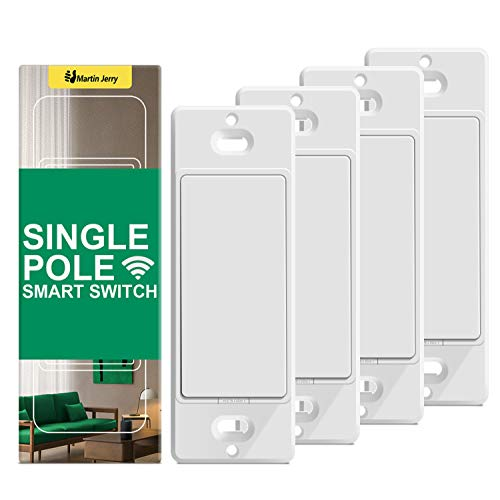 Smart Switch by Martin Jerry | 4-Pack White | Voice Control by Alexa, Smart Light Switch Works with Google Home, 2.4G WiFi, Need Neutral Wires