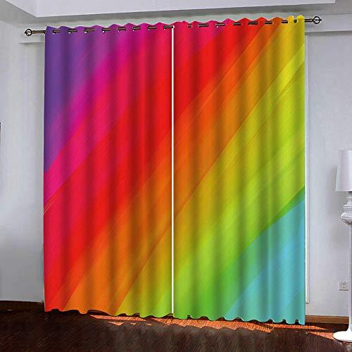 PERFECTPOT Gardinen Regenbogen-Muster Vorhang Blickdicht mit Ösen Geräuschreduzierung Verdunkelungsvorhänge für...