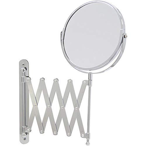LTJY 3X Vergrößerungsspiegel, um 360° schwenkbarer Kosmetikspiegel, wandmontierter runder Badezimmer-Rasierspiegel, Ø 20cm, doppelseitig, mit Klapparm, ausziehbar, aus Edelstahl