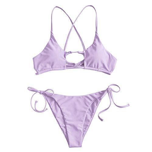ZAFUL Damen Solide Lace Up Strap Bikini Set Lila S