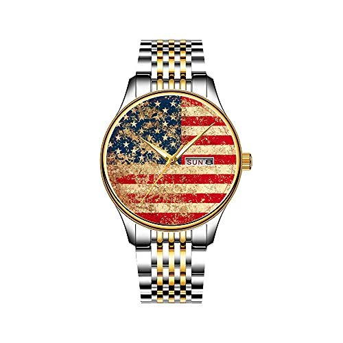 Reloj de pulsera para hombre, mecanismo de cuarzo japonés, fecha, acero inoxidable, pulsera dorada, catedral ruina, estudio del Portals Claude Monet