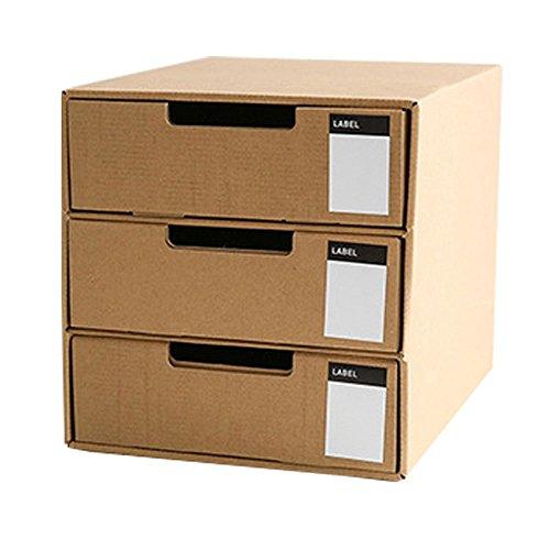 Baffect Karton Schublade mit 3 Schicht DIY Kraftpapier Desktop Storage stationäre Schublade Sorter Home Office A4 Archiv Aktenschrank Organizer ordentlich natürliche (Vertikales Etikett)