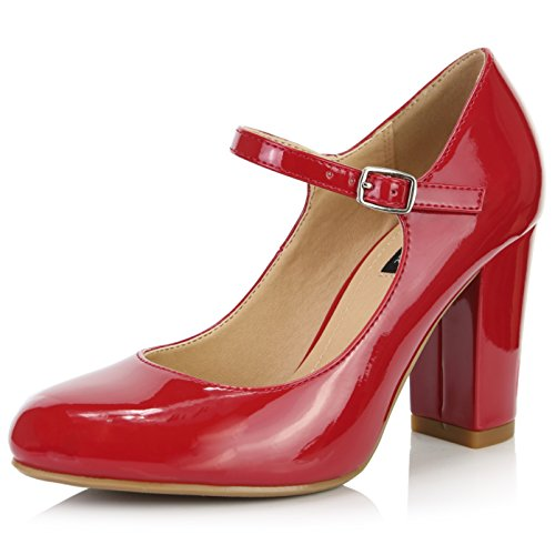 DailyShoes Women's Chunky Classic Round Toe Ankle Strap Shoes with Buckle Closure, Red Patent Leather, 10 B(M) US
