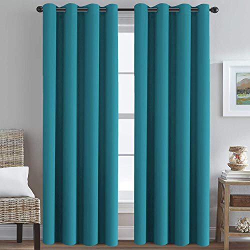 H.VERSAILTEX Blackout Thermal Insulated Solid Room Darkening Curtains/Panels/Drapes for Bedroom 108 Inches Long, Grommet Light Blocking Curtains for Sliding Glass Door, Turquoise Blue, Set of 2