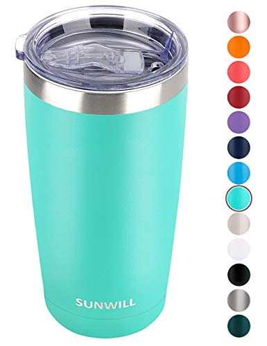 SUNWILL 20oz Tumbler with Lid Stainless Steel Vacuum Insulated Double Wall Travel Tumbler Durable Insulated Coffee Mug Powder Coated Teal Thermal Cup with Splash Proof Sliding Lid