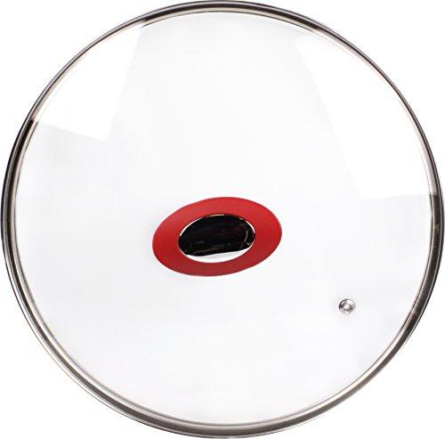 Durandal Couvercle universel en verre avec sortie de vapeur   Idéal pour les poêles en céramique CeraClick   Couvercle de casserole pour tous les accessoires de cuisine (24 cm)