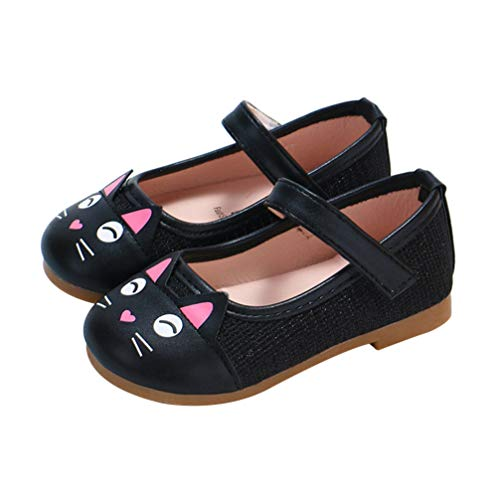 Happyyami Mary Jane Shoes for Baby Girls Toddler Infant PU Leather School Uniform Shoes Cartoon Cat Flat Dress Shoes