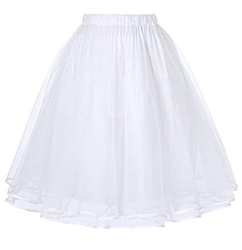 Belle Poque Unterrock 50s Vintage Petticoat Rockabilly Kleid 1950 weiß Petticoat Reifrock Underskirt S BP229-2