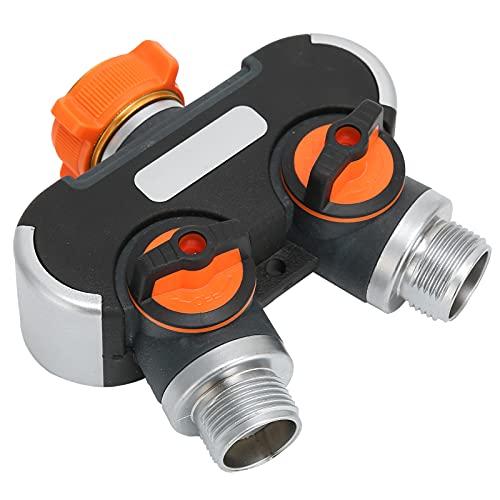minifinker Conector de Manguera de jardín, controla el Agua y apaga rápidamente el Agua Adaptador de Manguera de 2 vías sin Herramientas con Tensor para Lavado de Autos
