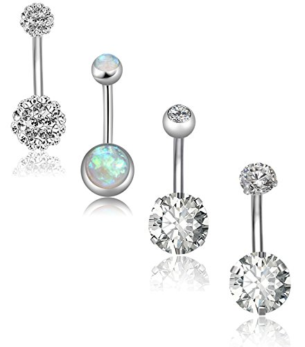 REVOLIA 4Pcs 14G Stainless Steel Belly Button Rings for Women Girls Navel Rings CZ Body Piercing
