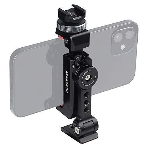 Soporte de Trípode de Metal para Teléfono+Zapata Fría Giratoria 360 ángulos de Rotación e inclinación,Compatible con iPhone Samsung, Trípode de Escritorio para Teléfono