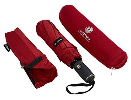 VAN BEEKEN Regenschirm sturmfest bis 140 km/h - Kleiner Leichter und kompakter Damen Herren Schirm mit Auf-Zu-Automatik - windsicherer Taschenschirm mit Tasche, Etui und Teflon-Beschichtung, Rot