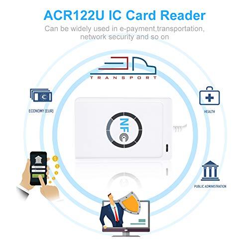 TOPINCN NFC RFID Leser Externe Kartenlesegeräte Identifikation RFID Karte NFC ACR122U ISO14443A / B - Kontaktloser intelligenter Leser Verfasser für Haussicherheit, Büro