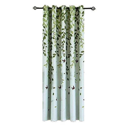 1 Panel Half Blackout Curtain Grommet Drape for Bedroom Green Leaves Birds Pattern Silver Metal Rings Curtains for Living Room Bay Windows , W39 x L84 inch
