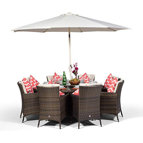 Savannah Rattan Dining Set | Round 8 Seater Brown Rattan Dining Set | Outdoor Poly Rattan Garden Table & Chairs Set | Patio Conservatory Wicker Garden Dining Furniture with Parasol & Cover