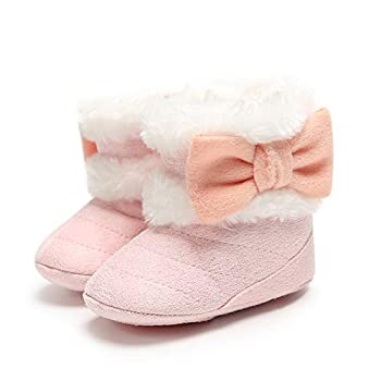 Baby Girls Boys Snow Booties Soft Sole Warm Winter Boots Anti-Slip Toddler Walker Newborn Shoes Pink 12CM