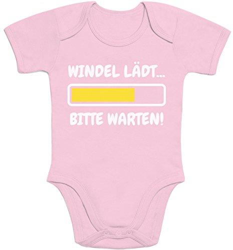 Shirtgeil Windel Lädt, Bitte Warten! - Lustige Babykleidung Baby Kurzarm Body 0-3 Monate Rosa