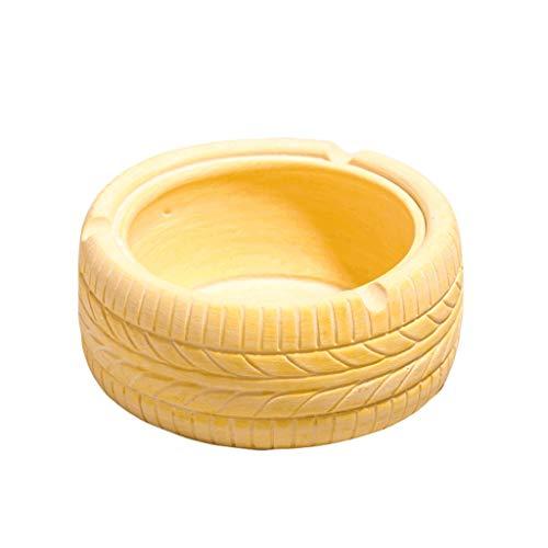 didi Cenicero creativo en forma de neumático, cenicero retro para consumidor/comercial, cenicero de mesa, cenicero de resina, decoración creativa de la encimera, 5 colores, color amarillo