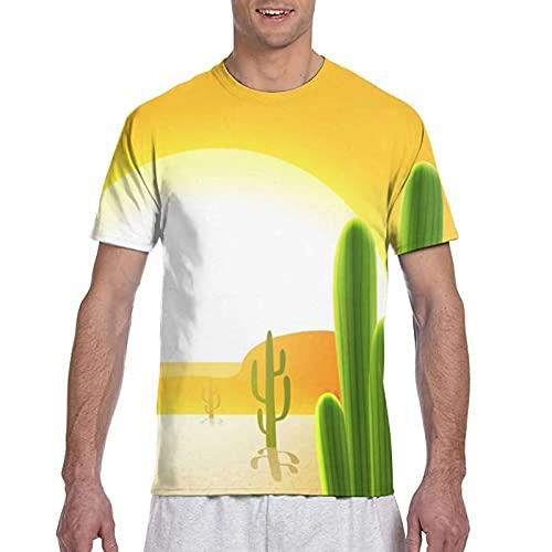 Kteubro Cactus Plants in Desert - Camiseta de manga corta para hombre