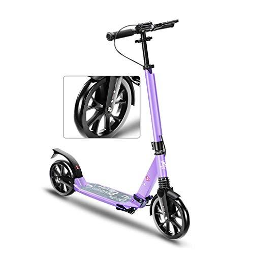 Cityroller Erwachsene, Riesenrad-Tretroller, Jugend-Erwachsener-Roller mit Doppelbremse, Doppelfederung, stilvoller klappbarer Pendler-Roller, Last 120 kg (Nicht elektrisch) (Color : Purple)