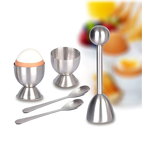 Hooshion 5 Pack Egg Cracker Topper Set Soft Hard Boiled Eggs Separator Holder Include 2 Spoons and 2 Cups 1 Shells Remover Top Cutter Stainless Steel for Breakfast Kitchen Tool