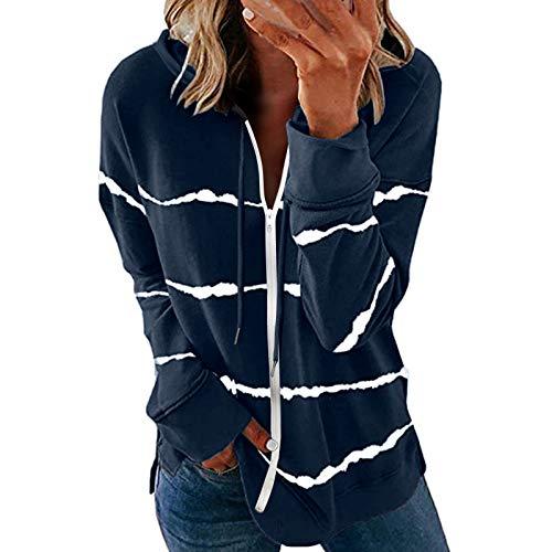 iYBWZH Womens Hoodie Striped Full Zip Long Sleeve Lightweight Sweatshirts Jacket Coat Navy