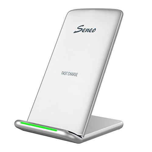 Seneo Cargador rápido inalámbrico rápido de 10 W, 2 bobinas, Cargador inalámbrico Qi para Samsung Galaxy Note 8/S8 Edge/S8 Edge Plus/S7/S7 Edge/estándar para iPhone X/8/8 Plus, Color Plateado