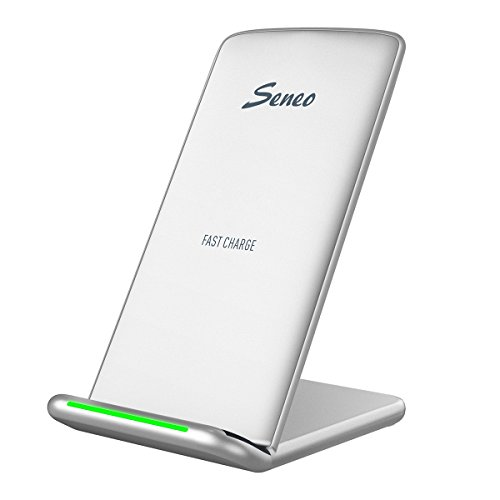 Seneo Fast Wireless Charger, 10W 2Coils Induktive Schnellladestation, Drahtloses Qi Ladegerät für Samsung Galaxy Note 8/S8 Edge/S8 Edge Plus/S7/S7 Edge/Standarde Aufladung für iPhone X/8/8 Plus-Silber
