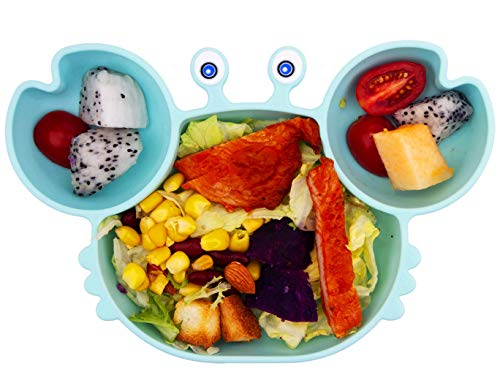 Baby Plate Silicone Suction Toddler Plates, DividedDishes for Toddler Kids,SelfFeeding,BPAFree, Microwave&DishwasherSafe (Sky Blue)