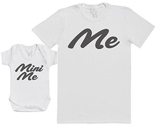 Me & Mini Me - Passende Vater Baby Geschenkset - Herren T-Shirt & Baby Strampler/Baby Body - weiß - S & 0-3 Monate