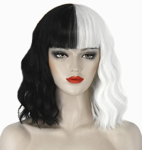 Juziviee Cruella Deville Wigs for Women Kids, 12'' Short Black and White Wigs with Bangs for Cruella Cosplay Costume JZ001BW