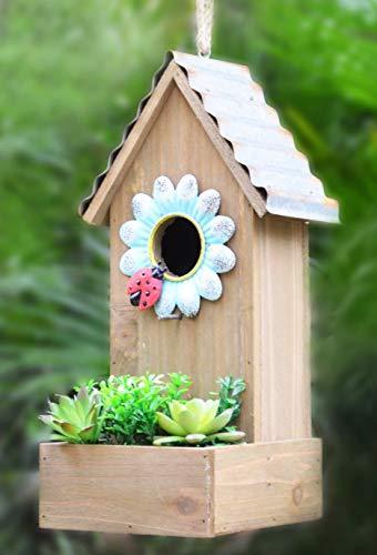GIFTME 5 Galvanized Birdhouse for Outdoor Hanging Bird House Graden Decor13.5 Inch Blue