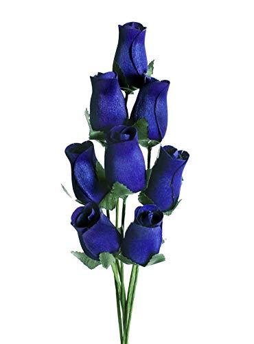 Rose in legno | 8 steli di rosa singoli legati in un mazzo | Fiori regalo per lei | Regali per la mamma Blu