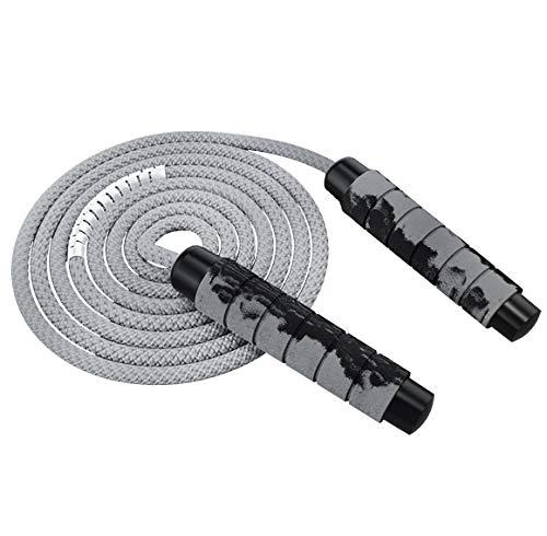 Odosalii Springseil Verstellbare Speed Rope Komfortablen Griffen Seilspringen Bunten Holzgriff Baumwolle Seil für Fitness Training Abnehmen für Kinder und Erwachsene (Grau)