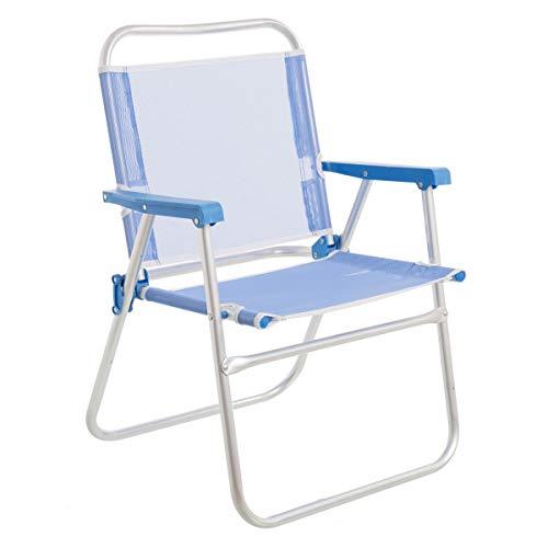 LOLAhome Silla de Playa Plegable Azul de Aluminio de 78x57x50 cm