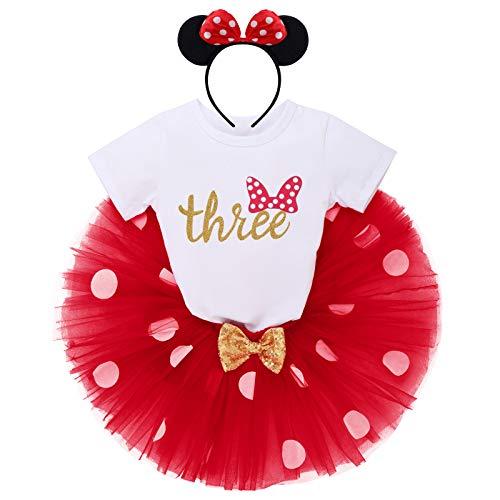 IBTOM CASTLE Conjunto de 3 piezas de ropa para beb o nia, de manga corta, de algodn, con lunares de princesa, tut y Minnie Mouse, diadema Red- Three 3 Aos
