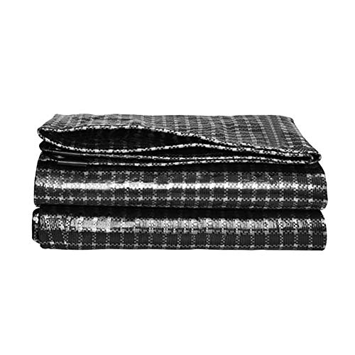 LHR Tarpaulin Waterproof Heavy Duty Heavy Duty Trucks/Warehouses Tarp Cover - 0.3mm Thick Waterproof Sunscreen Canopy Cloth with Eyelets, Black And White Grid (Size : 10x12m)