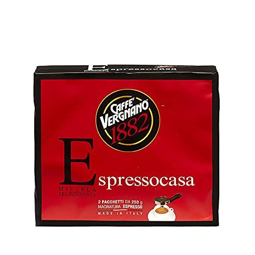 Caffè Vergnano 1882 Café moulu Espressocasa, 2 paquets de 250 gr (total 500 gr)