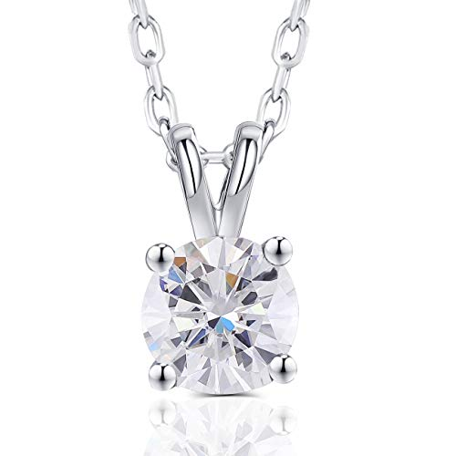Platinum Plated Silver 2 Carat 8mm G-H-I Color Created Moissanite Round Solitare Pendant Necklace for Women