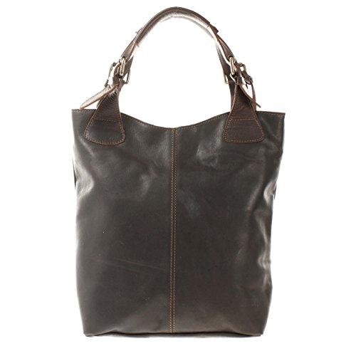 LECONI Henkeltasche Echt-Leder Vintage-Look Damentasche Handtasche für Damen Shopper für Freizeit, Büro oder Shopping Beuteltasche Frauen Ledertasche 34x35x10cm dunkelbraun LE0033-wax