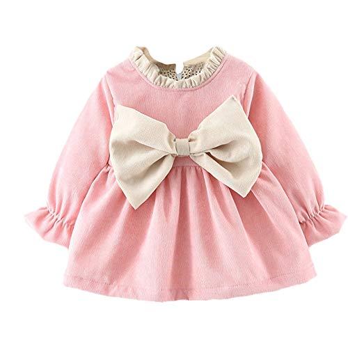 Vetement Bébé fille,Nouveau-né Filles Noeud Papillon Imprimé Robe Chaude Princesse Ensemble de Vêtements (3-6 mois, Rose)