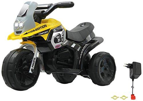 Jamara 460226 - Ride-on E-Trike Racer gelb – 6V Akku, elektrisches Dreirad mit extra starkem Bürstenmotor, Stahlhinterachse, Stahlvordergabel, LED Frontlicht, Musik, ca. 1 Std. Fahrzeit